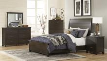 Homelegance 1923-4PC 4 pc Darby home co Hebron dark cherry finish wood panel headboard and footboard bedroom set