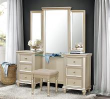 Homelegance 1928-14-15 3 pc Celandine silver finish wood bedroom make up vanity set