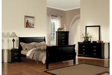 Acme 19500Q 5 pc louis philippe iii black finish wood sleigh queen bedroom set