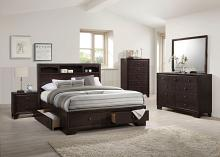 Acme 19560Q 4 pc madison ii espresso finish wood storage headboard with under bed drawers queen bedroom set