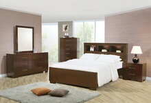 Coaster 200719Q 5 pc jessica queen contemporary bed with storage headboard and built in lighting bedroom set