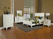 5 pc sandy beach classic white wood finish  queen high headboard bedroom set