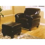 Black, Espresso, or Red  leather club chair and ottoman