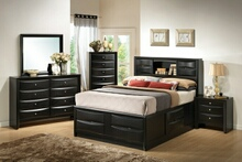 202701Q 5 pc briana transitional style black finish wood queen captains bedroom set with multiple drawers underneath