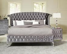 205101Q Rosdorf park lavallee deanna grey velvet headboard queen bed set