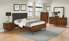 205131Q 5 pc Robyn dark walnut finish wood queen tufted bed set