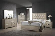 205291Q 5 pc Beaumont champagne gold finish wood queen tufted bed set