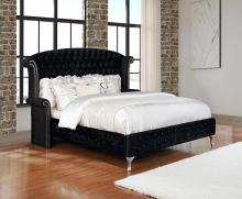206101Q Rosdorf park laufer deanna black velvet headboard queen bed set