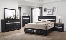 206361Q 5 pc Miranda black finish wood queen bedroom set