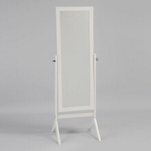 White finish wood rectangular cheval floor free standing mirror