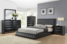 Acme 20660Q 5 pc tirrel black finish wood black faux leather padded bedroom set