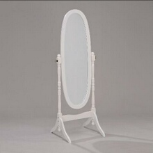 White finish wood free standing cheval floor mirror