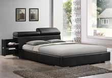 Acme 20750QBed Manjot black leather like vinyl padded queen size platform bed set