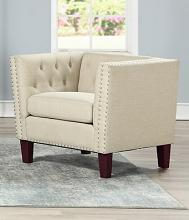 Asia Direct 2101-BGE Red barrel studio Byars beige faux linen fabric upholstered nail head trim accent chair
