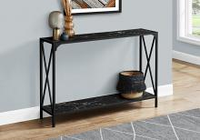 """ACCENT TABLE - 48""""L / BLACK MARBLE / BLACK HALL CONSOLE"""