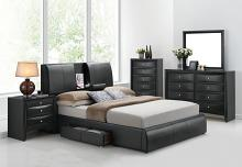 Acme 21270Q 5 pc kofi black finish wood black faux leather storage arm queen bed set