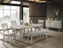 2132T-4079 6 pc Wila arlo interiors white sands antique white finish wood dining table set with bench