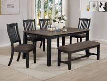 2142T-4064 6 pc Jarie tow tone finish wood dining table set fabric seats