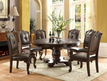 5 pc kiera dark finish wood round dining table set with faux leather seats
