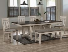 2158CG-T-6PC 6 pc Gracie oaks Maribelle chalk grey two tone finish wood dining table set with trestle base