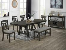 2158GB-T-6PC 6 pc Gracie oaks Maribelle grey brown finish wood dining table set with trestle base