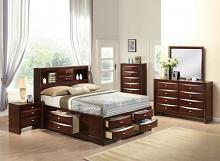 Acme 21600Q 4 pc ireland espresso finish wood storage headboard underbed drawers queen bed set