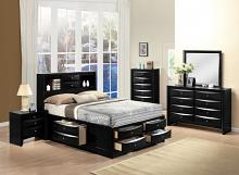 Acme 21610Q 5 pc ireland black finish wood storage headboard underbed drawers queen bedroom set