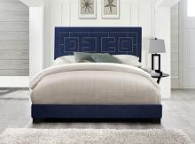 Acme 21640Q Ishiko III dark blue velvet fabric nail head trim accents queen bed set