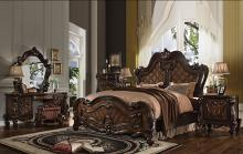 Acme 21790Q 5 pc versailles cherry oak finish wood carved accents headboard queen bedroom set