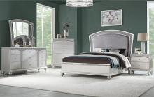 5 pc Maverik platinum finish wood and fabric padded queen bedroom set