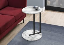 """ACCENT TABLE - 24""""H / WHITE MARBLE-LOOK / BLACK METAL"""