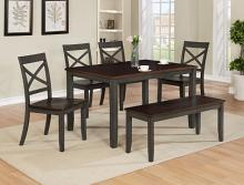 2225T-3648 6 pc wila arlo interiors Etta dark finish wood dining table set with bench