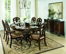 Homelegance 2243-76 7 pc deryn park ii cherry finish wood round / oval pedestal dining table set