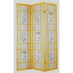 Natural finsh 3 panel room divider screen with floral design
