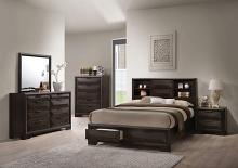 Acme 22870Q 5 pc Merveille espresso finish wood bookcase headboard queen bedroom set