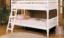 Homestead white finish wood Twin / Twin convertible bunk bed set