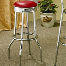 2299R Set of 2 chrome finish metal bar stools with red vinyl seats