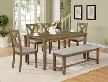 2321WT-SET 6 pc Glara medium brown finish wood dining table set fabric seats