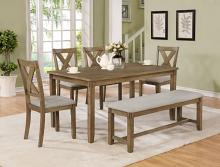 2321WT-6PC 6 pc wila arlo interiors clara wheat finish wood dining table set with bench