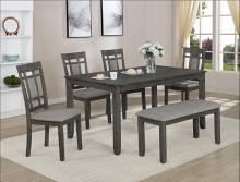 2325SET-GY 7 pc Paige grey wood finish dining table set with grid design backs with bench