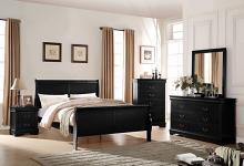 Acme 23730Q 5 pc louis phillippe black finish wood queen sleigh bedroom set