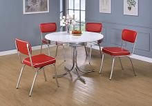 2388-2450R 5 pc Ebern designs cousteau retro chrome finish 50's diner round white top dining table set