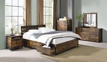 Acme 24260Q-4PC 4 pc 17 stories greylock juvanth rustic oak finish wood queen bedroom set with drawers