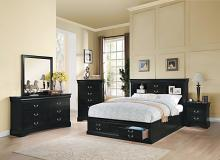 Acme 24390Q 5 pc louis phillipe iii black finish wood storage headbord underbed drawers queen bedroom set