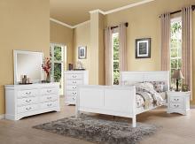 Acme 24500Q 4 pc louis phillipe iii white finish wood queen sleigh bedroom set