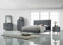 Acme 24520Q 5 pc valda light gray fabric upholstered queen bedroom set