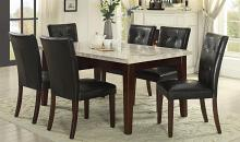 Homelegance 2456-64WM-7PC 7 pc decatur espresso finish wood and marble top dining table set with seats
