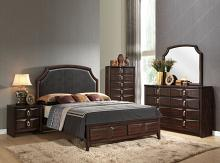 Acme 24570Q 5 pc lancaster espresso finish wood espresso faux leather padded bedroom set