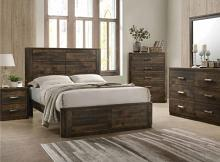 5 pc Elettra antique walnut finish wood panel queen bedroom set