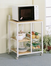Chefs helper natural finish top and white finish metal frame utility cart with baskets and casters